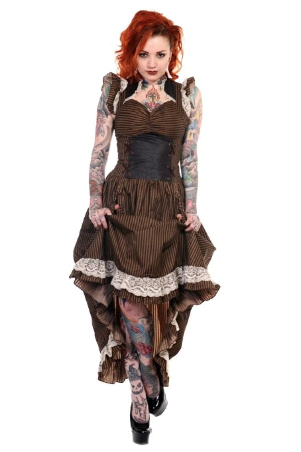 Banned Retro Black Gothic Copper Victorian Dress - Bohemian Finds