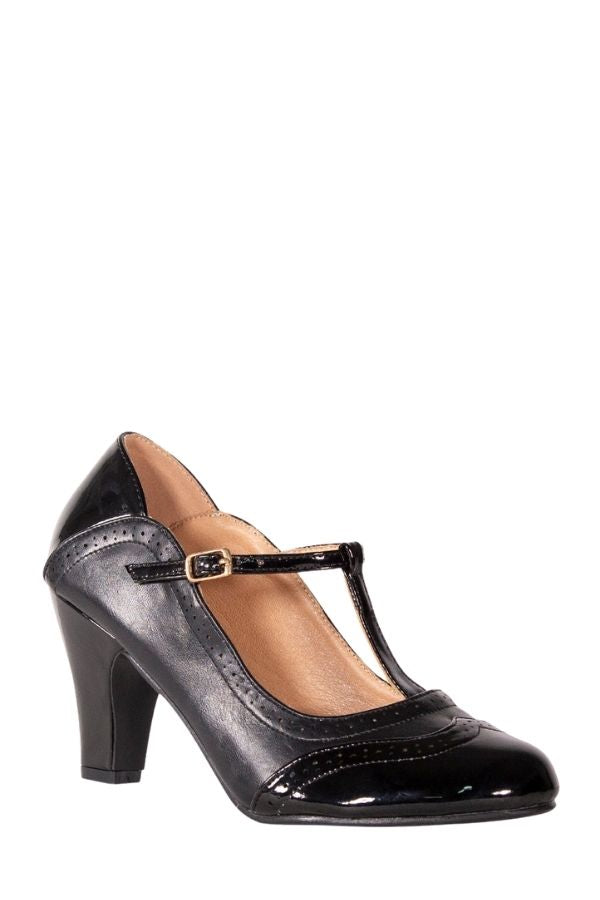Dancing Days DIVA BLUES 50s T-Strap Pumps in Black - Bohemian Finds