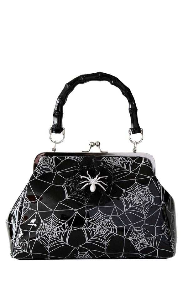 Banned Retro Killian Black Spider & Webb Frances Handbag - Bohemian Finds
