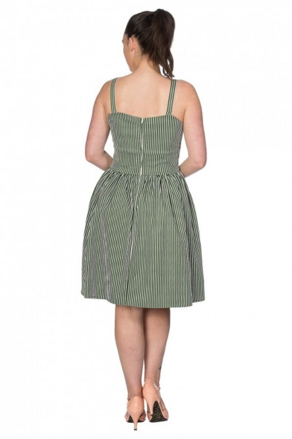 Banned Retro Stripe & Bows Flare Dress