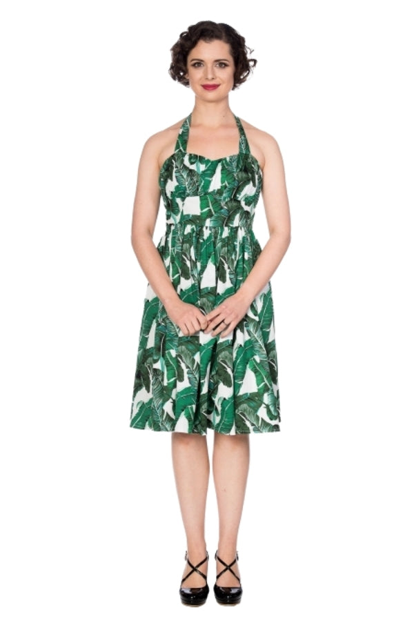 Banned Retro Tropical Leaf Fit & Flare Dress