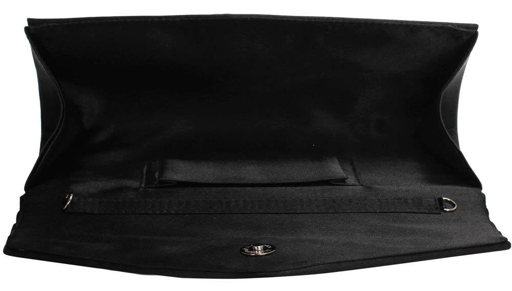 Black Crystal Flower Satin Clutch Bag - Bohemian Finds