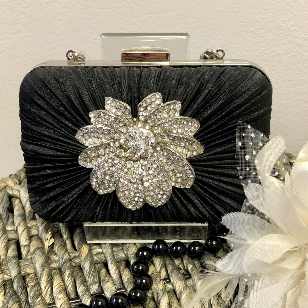 Black Crystal Satin Rouched Brooch Hard Case Evening Bag - Bohemian Finds