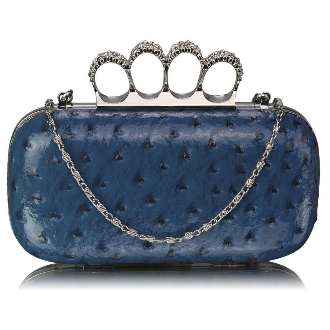 Blue Ostrich Knuckle Rings Evening Bag - Bohemian Finds