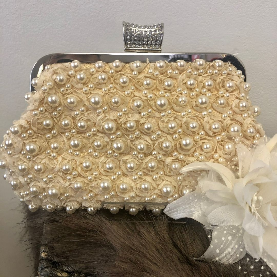 Champagne Pearl Beaded Clutch Bag - Bohemian Finds