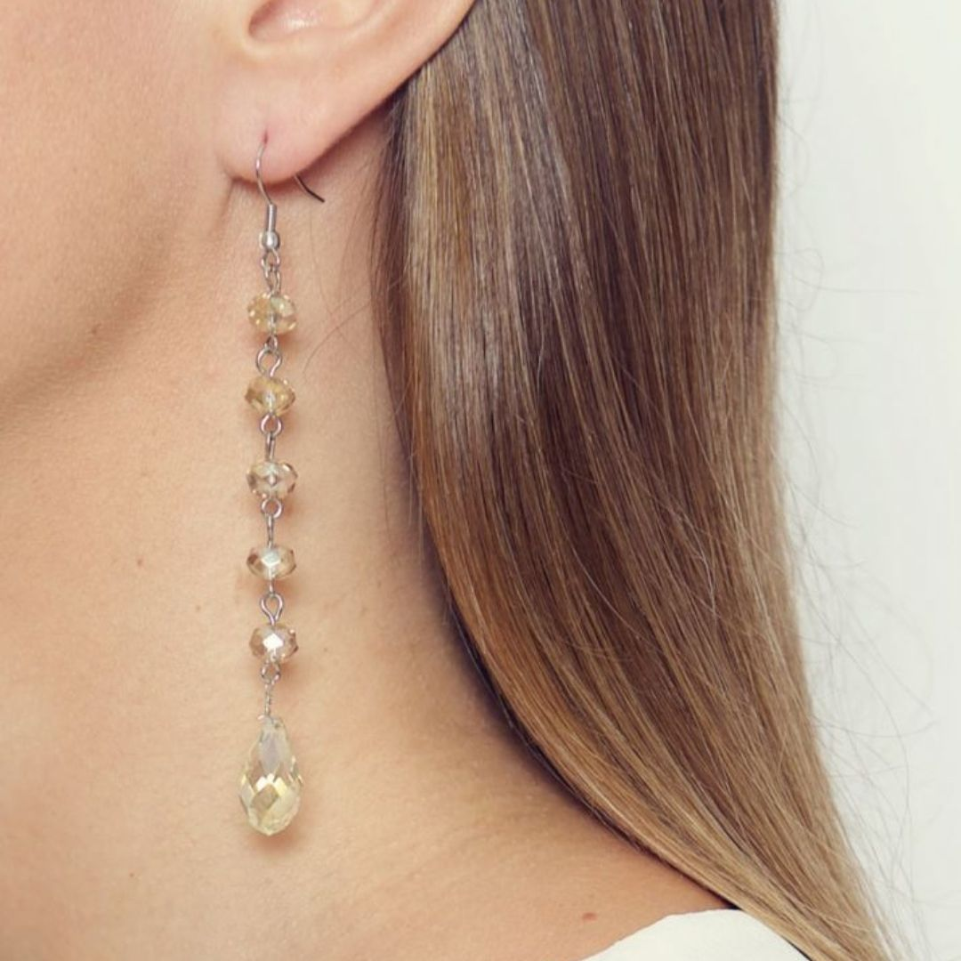 Rosie Fox Crystal Long Drop Earrings - Bohemian Finds