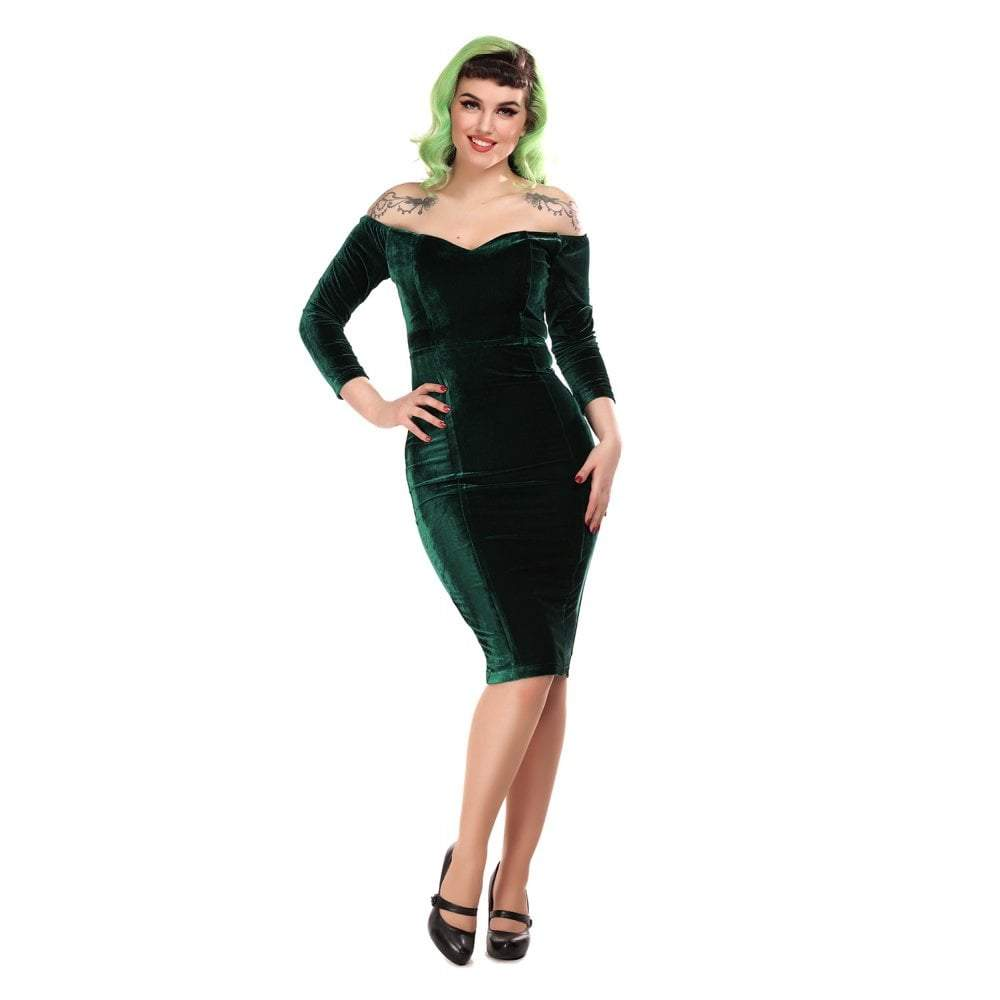 Collectif Anjelica Velvet Green Pencil Dress - Bohemian Finds