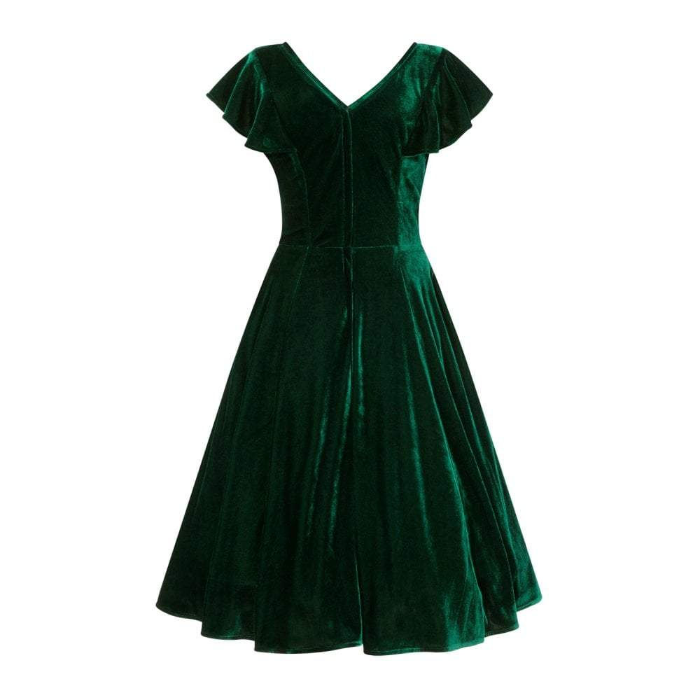 Collectif Arabella Green Velvet Dress - Bohemian Finds