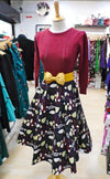 Collectif Mainline Dallas 50s Jumper (Wine) - Bohemian Finds