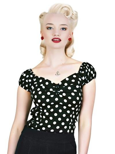Collectif Dolores Black & White Polka Dot Top - Bohemian Finds