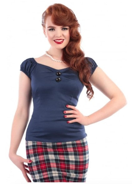 Collectif Dolores Top (Navy) - Bohemian Finds