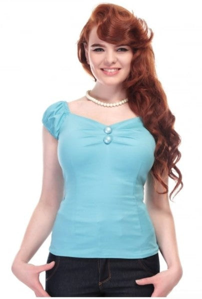 Collectif Dolores Top (Pale Blue) - Bohemian Finds