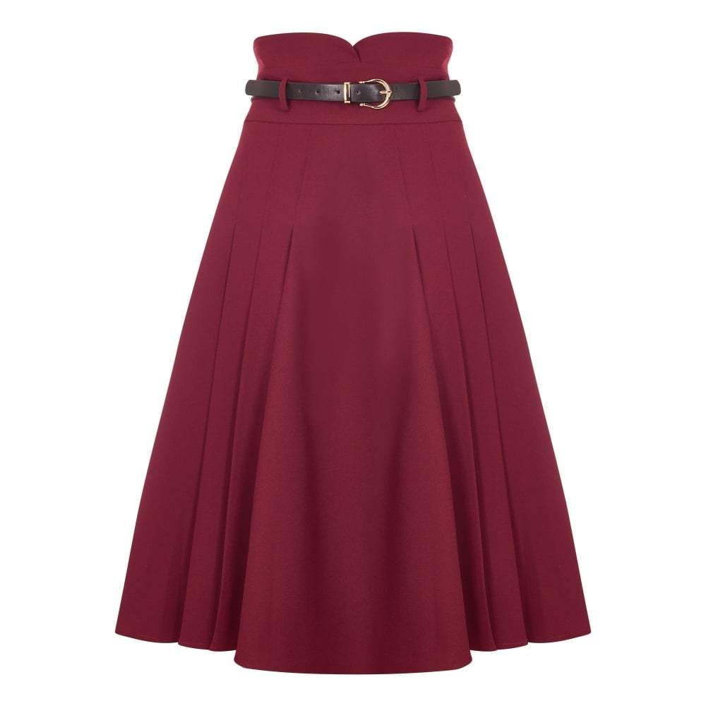 Collectif Elsa Flared Wine Skirt - Bohemian Finds
