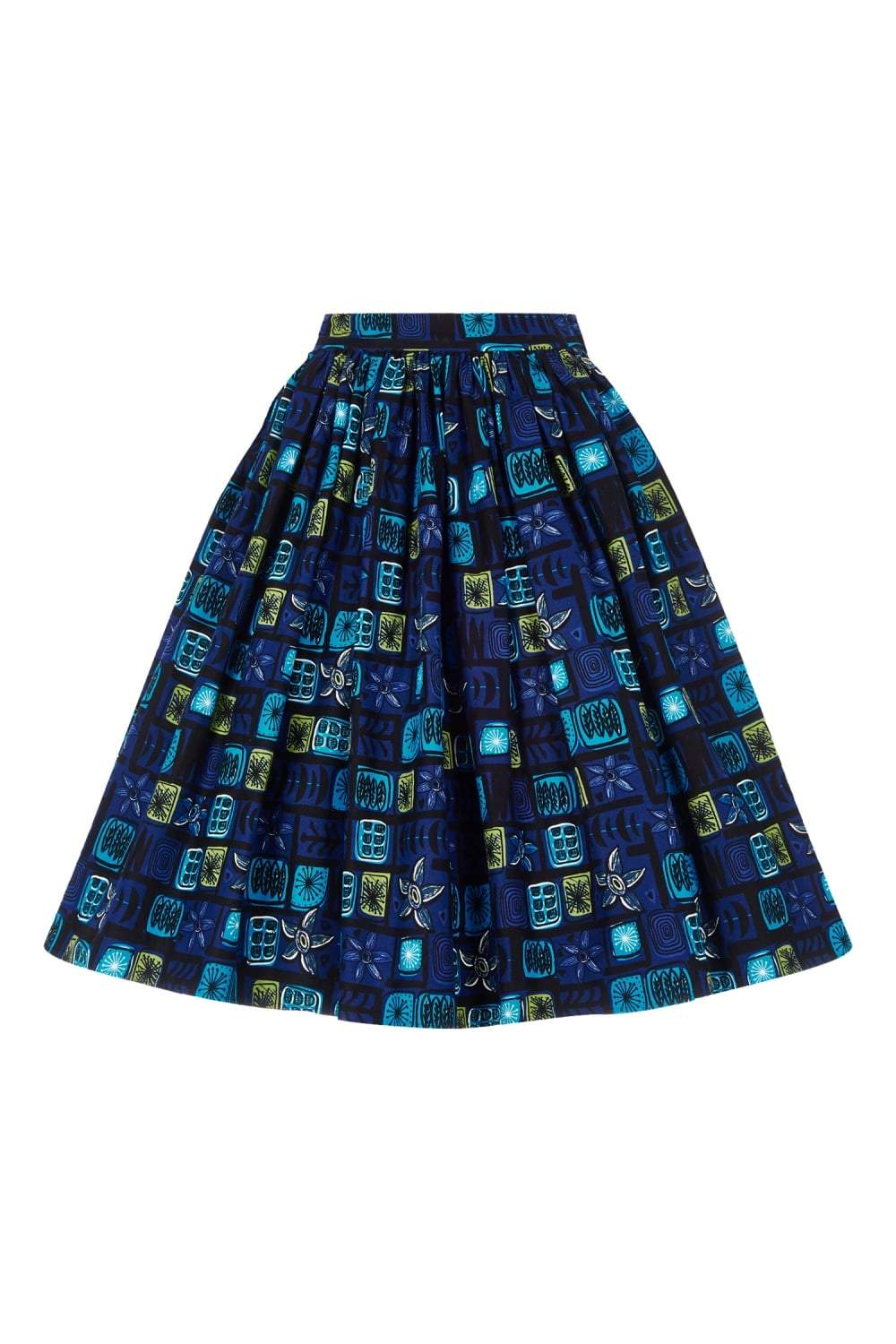 Collectif Jasmine Abstract Floral Swing Skirt (Blue) - Bohemian Finds