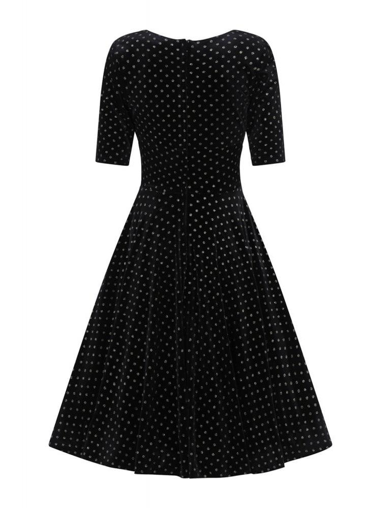 Collectif Mainline Trixie Golden Polka Dot Dress - Bohemian Finds