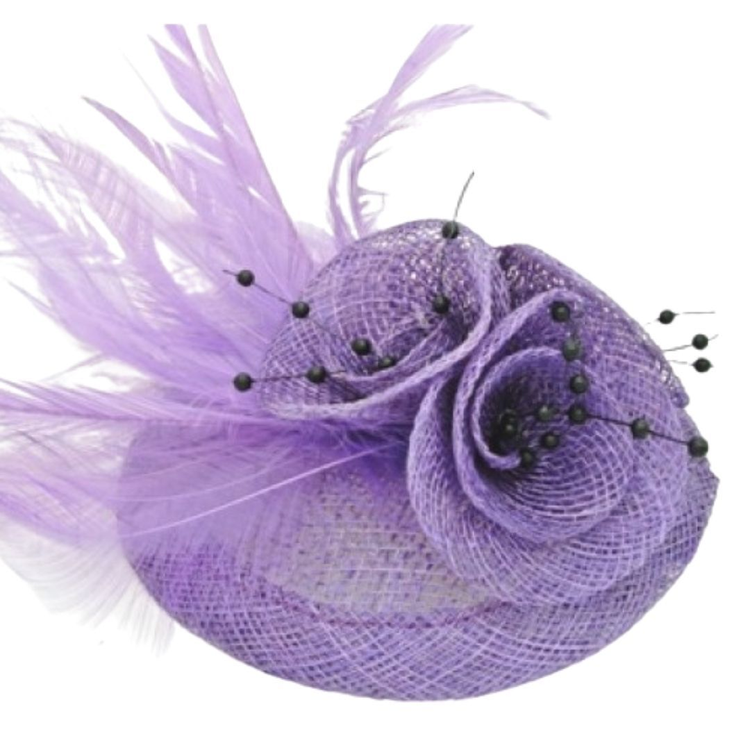 Light Purple Feathered Hessian Round Hatinator - Bohemian Finds