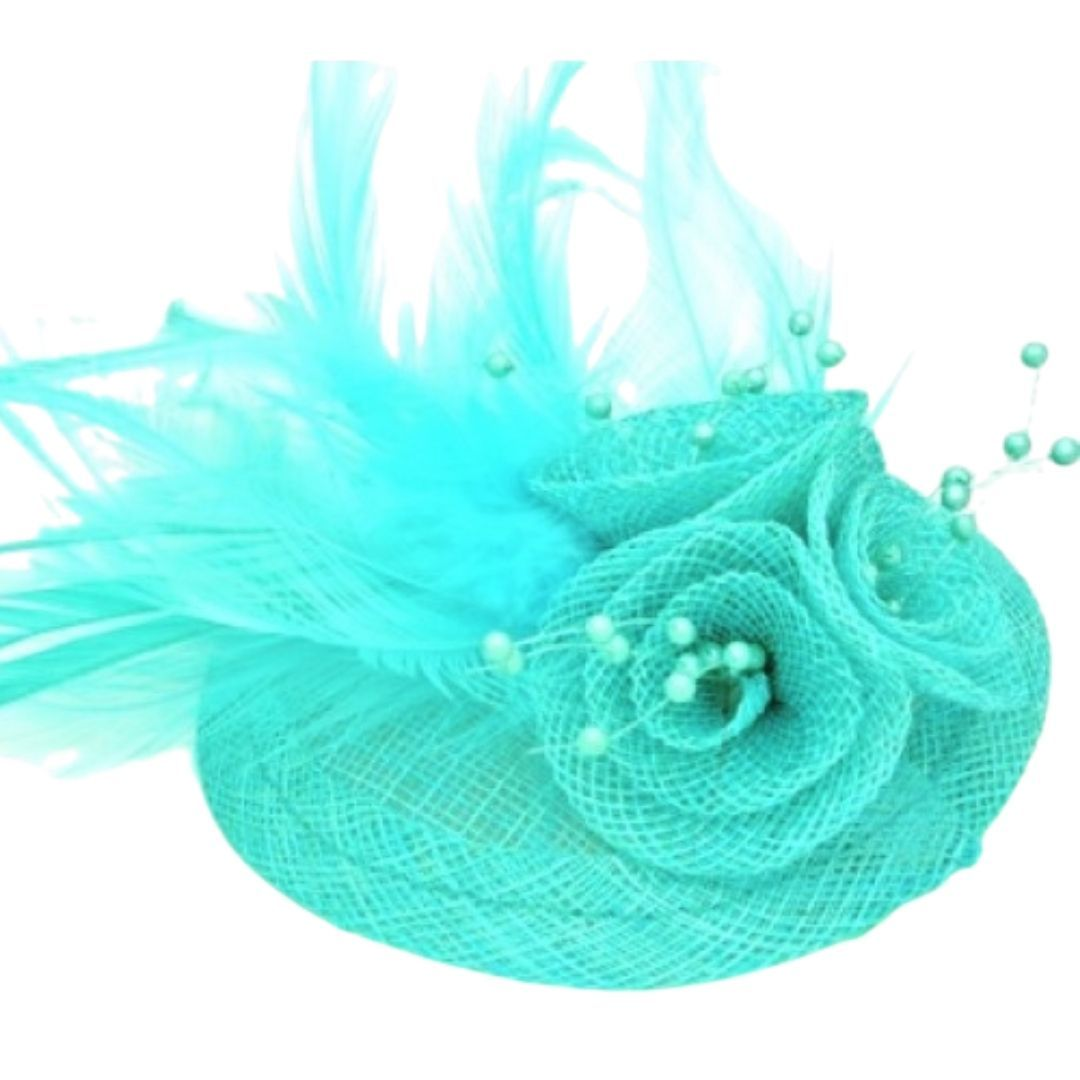 Aqua Feathered Hessian Round Hatinator - Bohemian Finds