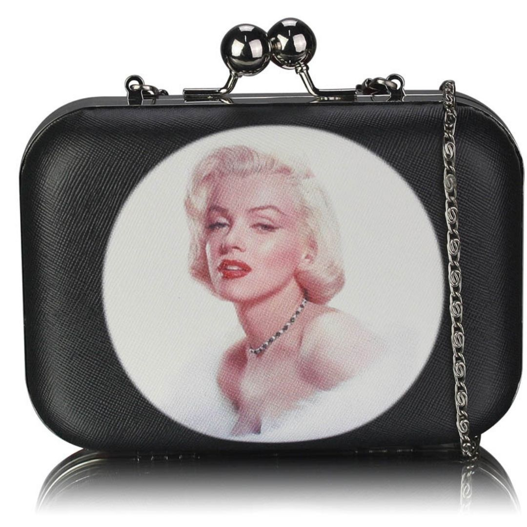 Marilyn Black Hard Case Clutch Bag With Kiss Lock - Bohemian Finds