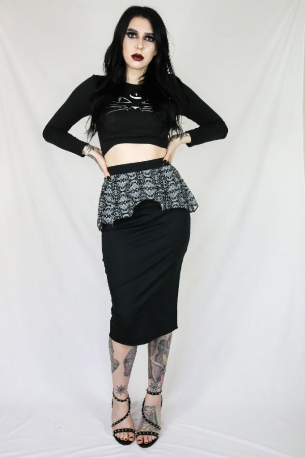 Coven Batwing Peplum Skirt - Bohemian Finds