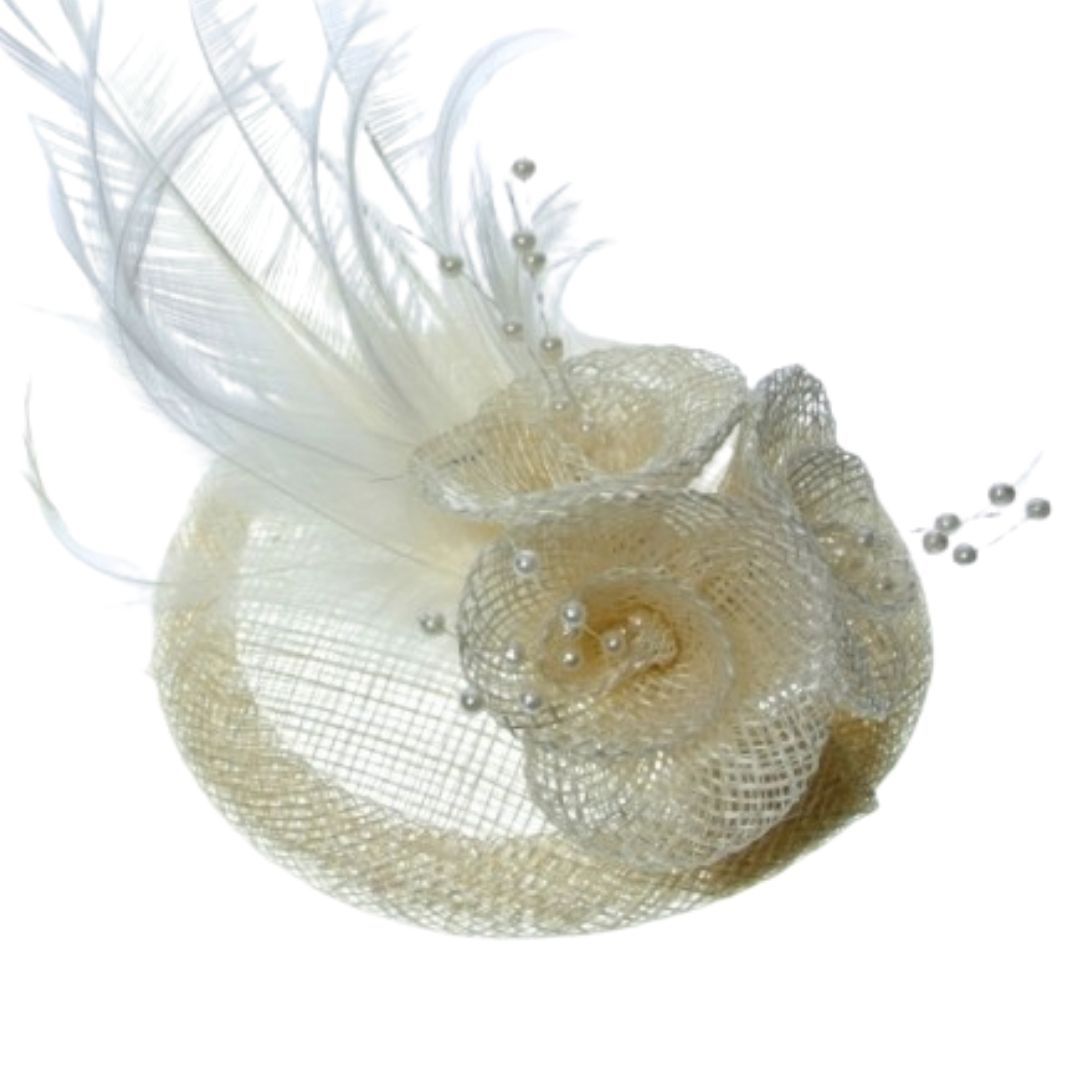 Cream Feathered Hessian Round Hatinator - Bohemian Finds