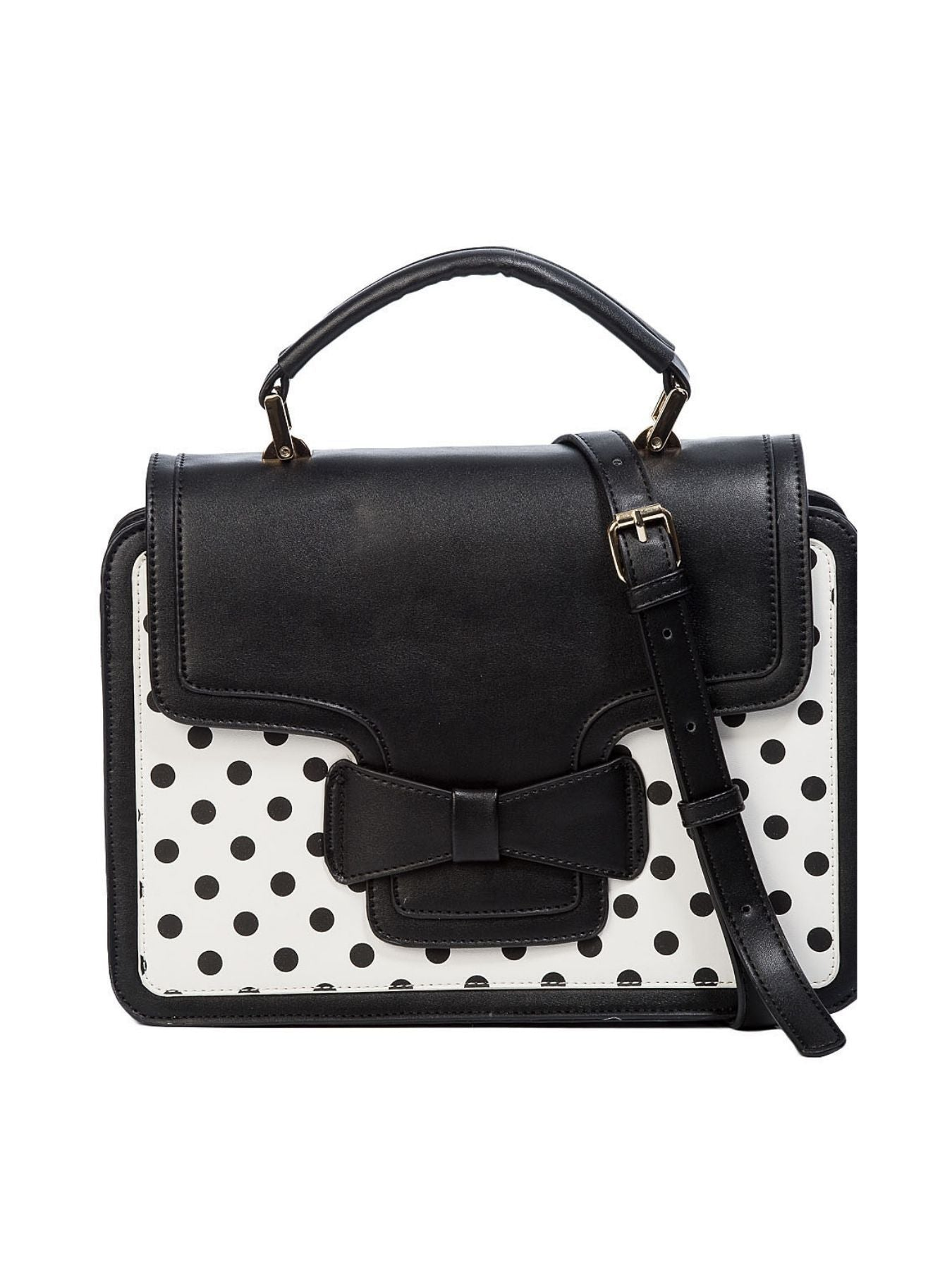 Dancing Days 50s Elegant Spots Black/White Polka Dot Handbag - Bohemian Finds