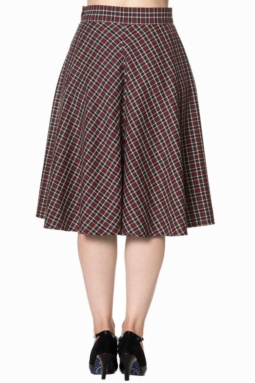 Dancing Days Apple of My Eye Tartan Check Skirt Red/Black (Plus Size) - Bohemian Finds