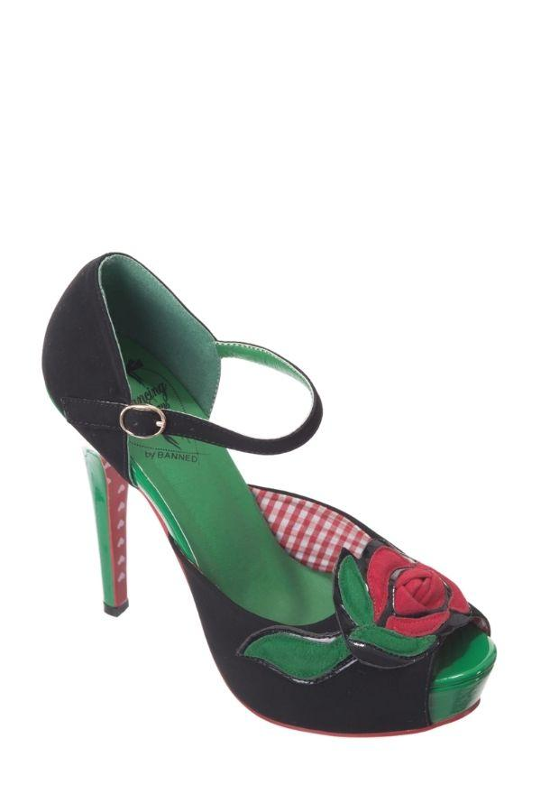 Dancing Days SAGE ROSE Peeptoe 50s High Heels - Bohemian Finds