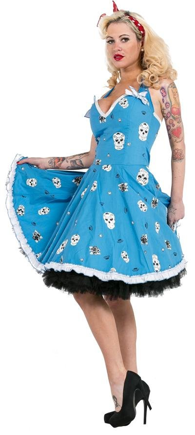 Dead Threads Blue Sugarskull Dress - Bohemian Finds