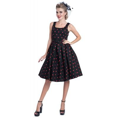 Dolly & Dotty Amanda Dress (Black/Red Polka Dot) - Bohemian Finds