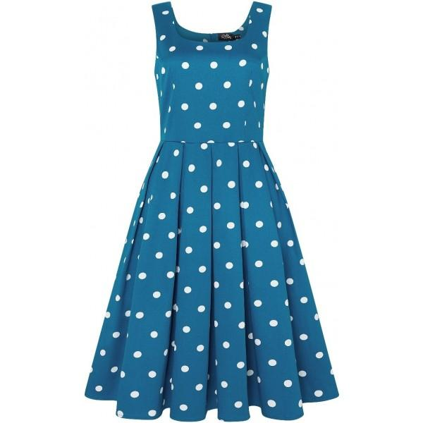 Dolly & Dotty Amanda Dress (Peacock Blue & White) - Bohemian Finds