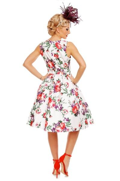 Dolly & Dotty Annie Floral Swing 50s Dress (White/Pink) - Bohemian Finds