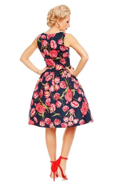 Dolly & Dotty Annie Tulip Floral Swing 50s Dress (Navy) - Bohemian Finds