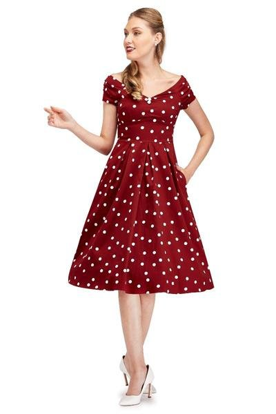 Dolly & Dotty Lily 50s Dress (Burgundy/White) - Bohemian Finds