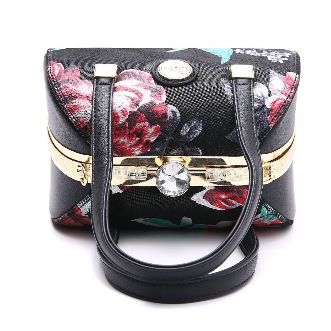 Peach Accessories Red/Green Floral Faux Leather Handbag