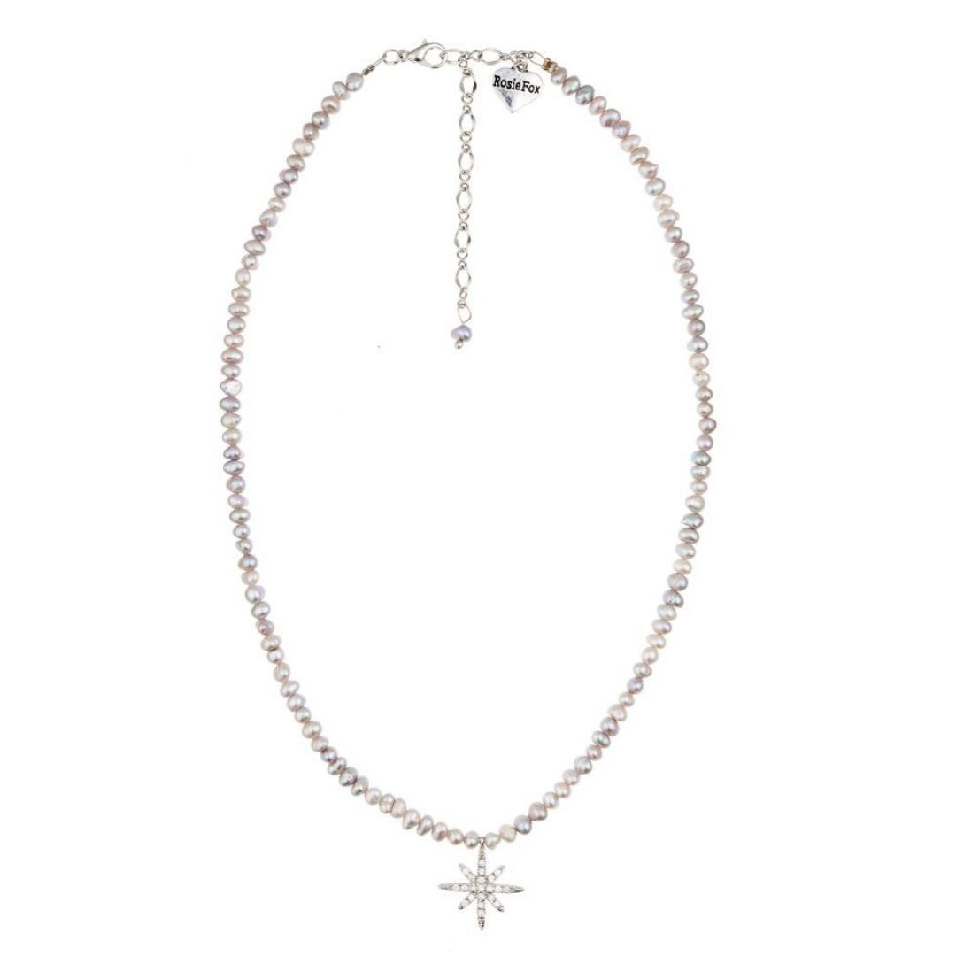 Rosie Fox Freshwater Grey Pearl Star Necklace - Bohemian Finds