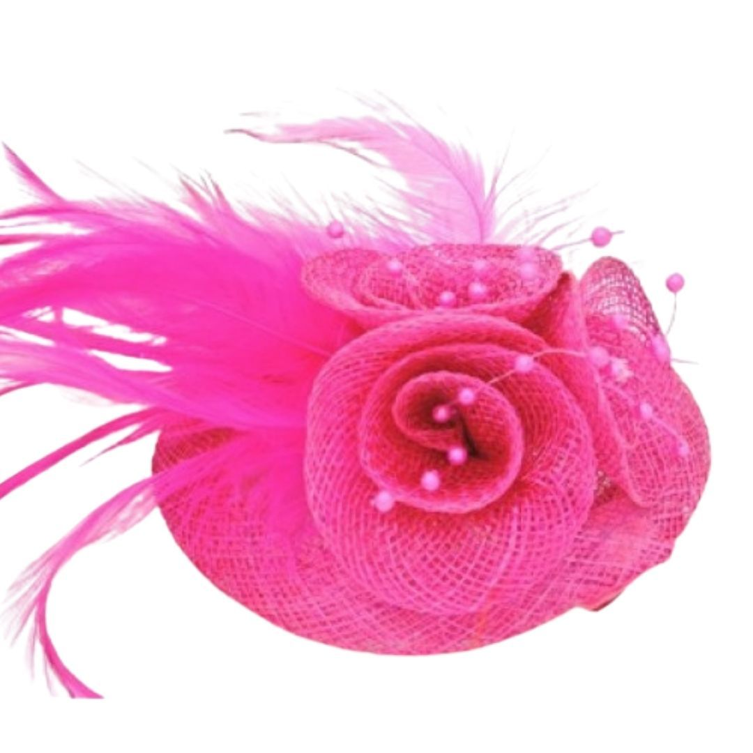 Fuchsia Feathered Hessian Round Hatinator - Bohemian Finds