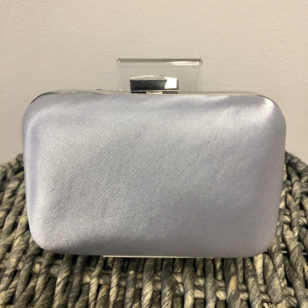 Grey Crystal Satin Rouched Hard Case Evening Bag - Bohemian Finds