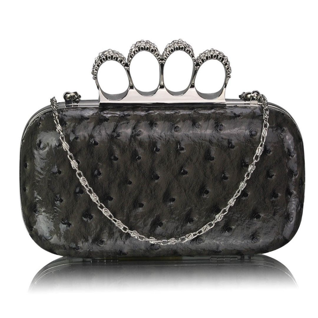 Grey Ostrich Knuckle Rings Evening Bag - Bohemian Finds