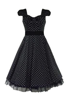 H&R London 50's Vintage Bow Small Polka Dot Tea Dress (Black) - Bohemian Finds
