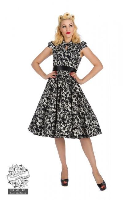 H&R London Black/Cream Rose Swing Dress - Bohemian Finds