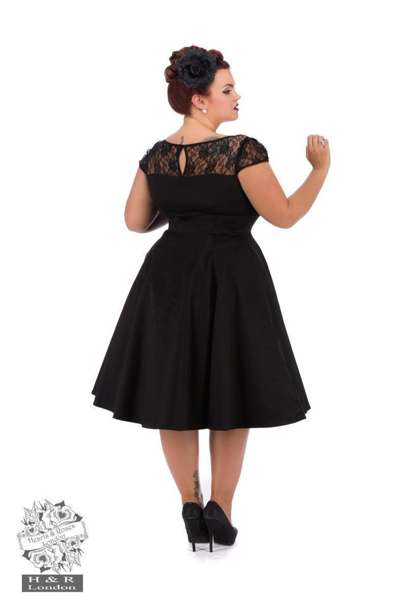 H&R London Black Lace Swing Dress (Plus Size) - Bohemian Finds