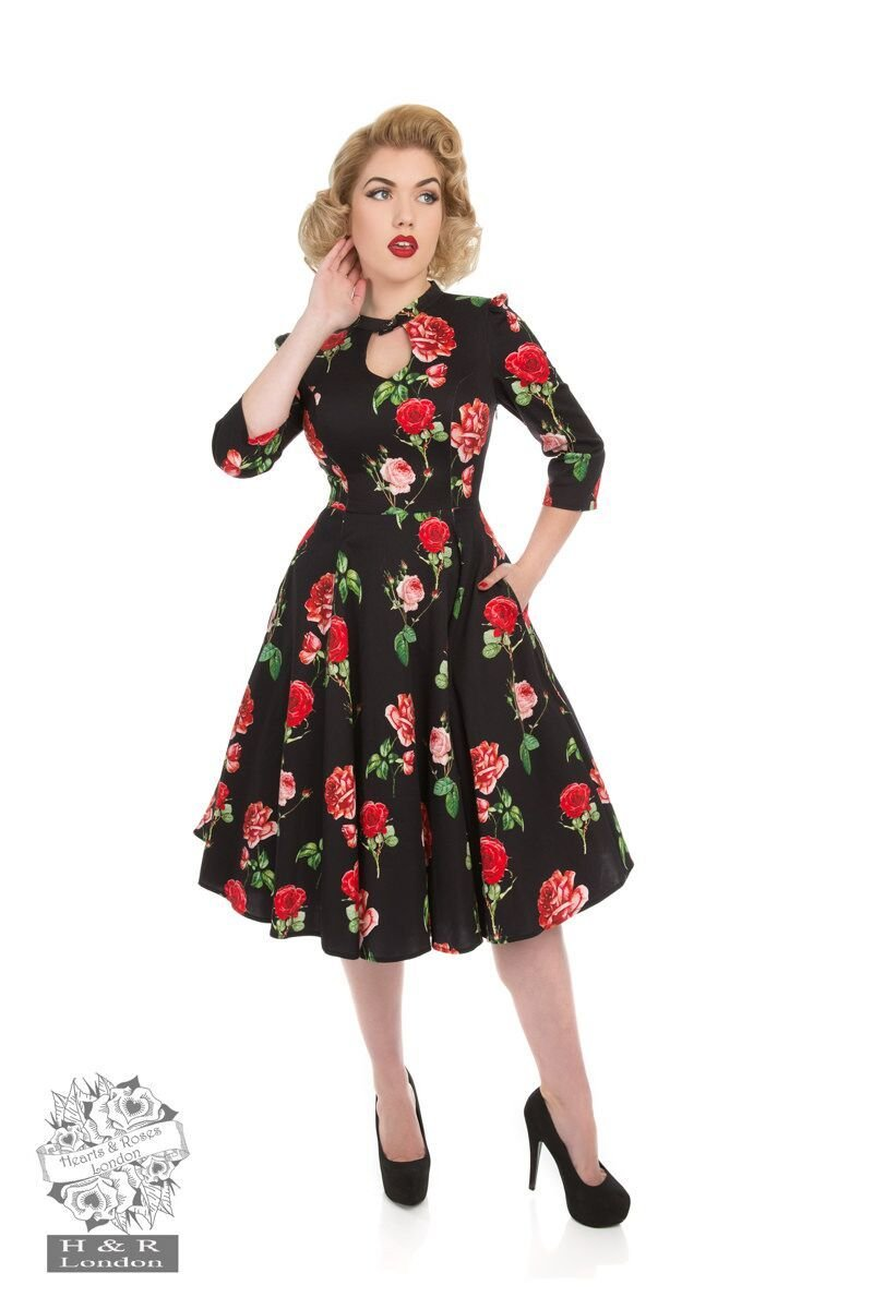 H&R London Black Red Roses Dress - Bohemian Finds
