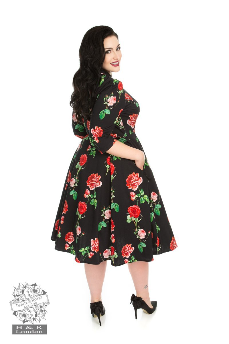 H&R London Black Red Roses Dress (Plus Size) - Bohemian Finds