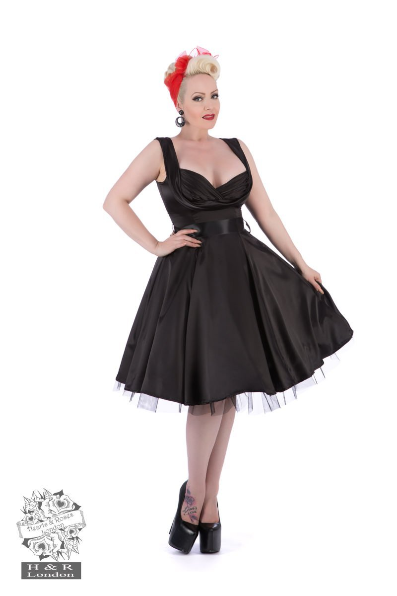 H&R London Black Satin 50's Prom Dress - Bohemian Finds