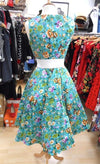 H&R London Ella Turquoise Floral Dress (Plus Size) - Bohemian Finds