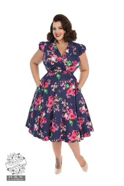H&R London Midnight Garden Floral Tea Dress (Plus Size) - Bohemian Finds