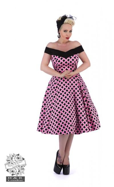 H&R London Pink & Black Polka Dot Shoulder Dress - Bohemian Finds