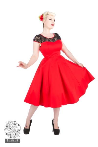 H&R London Red Lace Swing Dress - Bohemian Finds