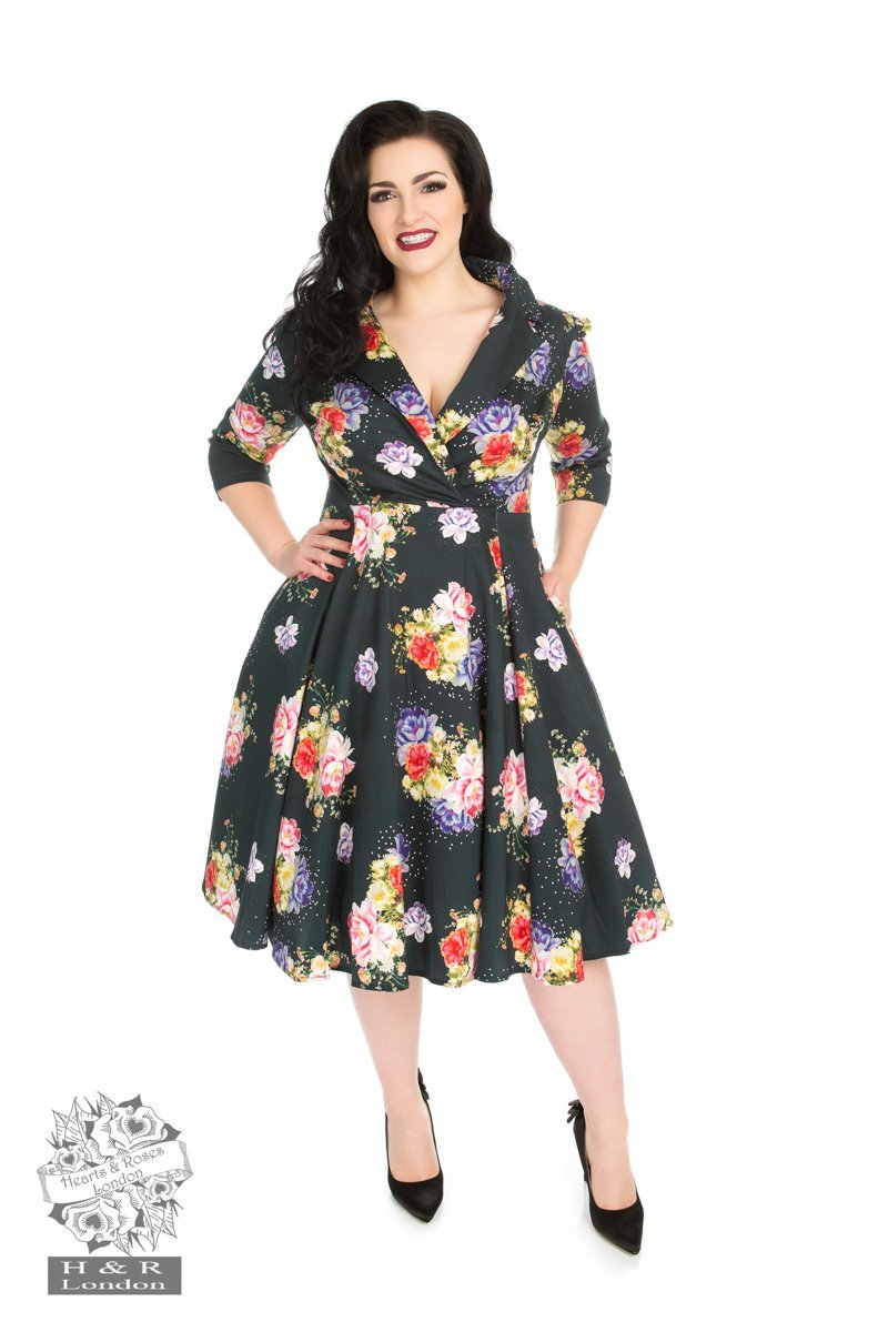 H&R London Stardust Floral Swing Dress (Plus Size) - Bohemian Finds