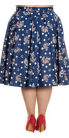 Hell Bunny - Oceana 50's Navy Skirt (Plus Size) - Bohemian Finds
